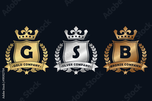 Gold Silver And Bronze Royal Design Logo With Shield Crown Laurel Wreath Ribbon Luxury Logotype Template For Company Royalty Coat Of Arms