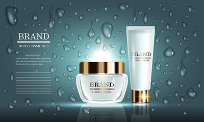 Cosmetics beauty series, set of premium cream for skin care and drops. Template for design poster, placard, presentation, banners, mockup, cover, vector illustration.
