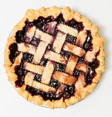 Overhead blackberry pie with lattice
