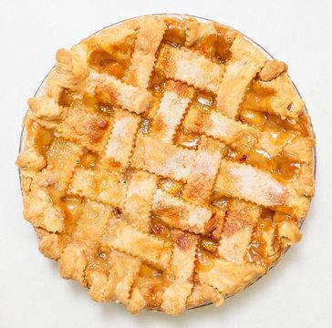 Overhead peach pie with lattice