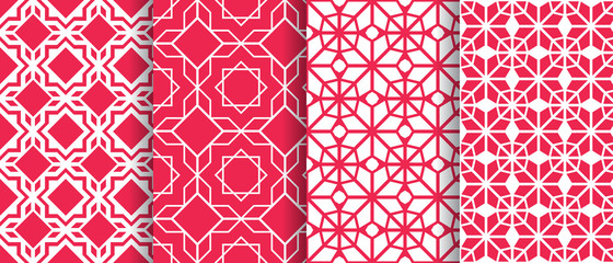 Arabic background collection. Islamic geometric vector seamless patterns set. Elegant textures in eastern style. Asian decoration. Repeat wallpaper for beauty, cosmetics, fashion, interior business Wall mural