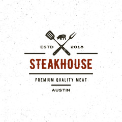 vintage steak house logo. retro styled grill restaurant emblem. vector illustration