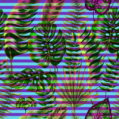 seamless pattern with tropical leaves and neon pink ribbon. Trendy  vector design for print.