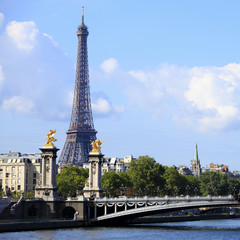 Eiffel Tower Paris river seine bridge square format