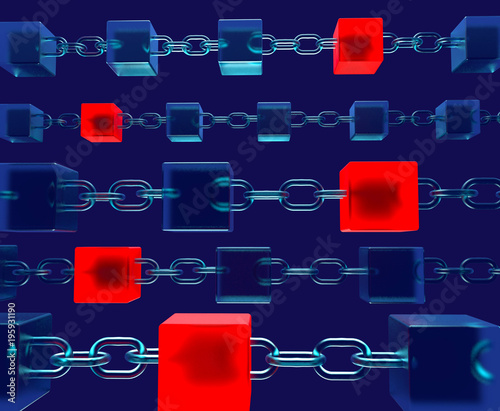 Block chain concept Save Code Red Virus 3d rendering