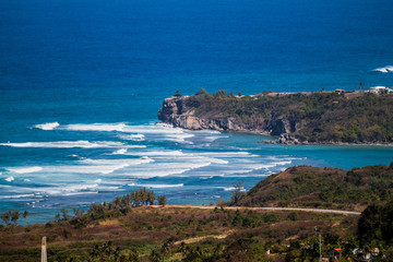 Panoramic View of a Coastline in Barbados, Ocean, Waves, Blue