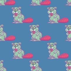 Funny beaver seamless pattern. Cartoon style pattern design.