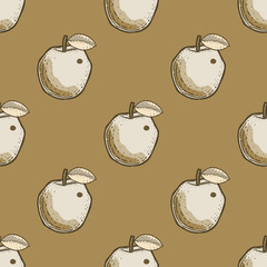 Quirky apple seamless pattern. Cartoon style pattern design.