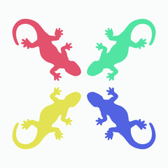 Colorful lizards silhouette isolated on white vector illustration