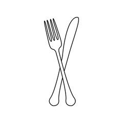Fork and knife illustration. Vector