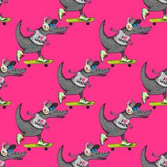 Crocodile on skateboard seamless pattern. Cartoon style pattern design.