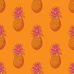 Pineapple funky seamless pattern. Cartoon style pattern design.