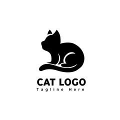 silhouette Sit cute cat art logo