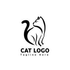 silhouette stand brush art cat logo