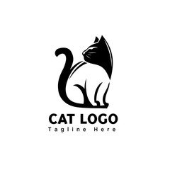 silhouette stand negative body art cat logo