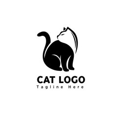 silhouette stand negative head art cat logo