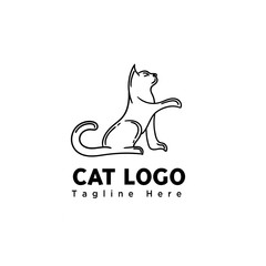stand cat line art elongate hand logo