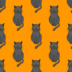 Cool cat seamless pattern. Cartoon style pattern design.