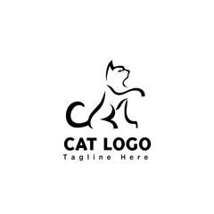 stand cat brush art elongate hand logo