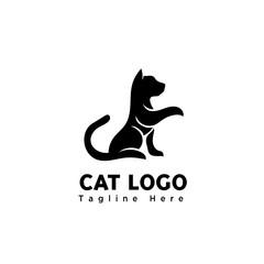 stand cat silhouette art elongate hand logo