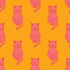 Cool cat seamless pattern. Cartoon style pattern design.