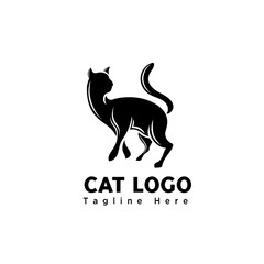 silhouette art walking cat logo