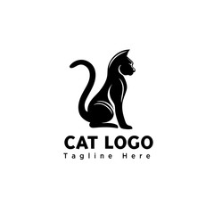 Silhouette stand cat logo