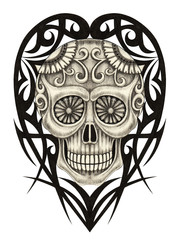 Art graphic heart mix skull day of the dead. Hand drawing on paper.
