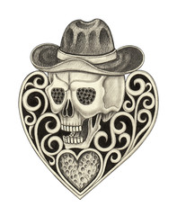 Art Vintage heart mix Cowboy Skull. Hand pencil drawing on paper.