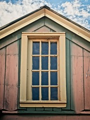 Old Wooden Building with Upper Window