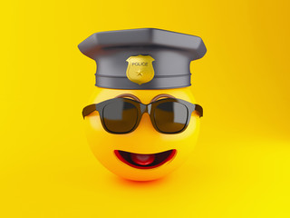 3d Policeman Emoji icons with police cap.