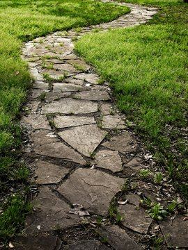 Stone Pathway Outlined with Green Grass