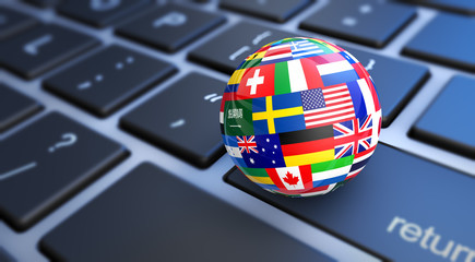 World Flags Globe Computer Keyboard