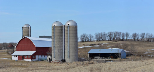 Farm scene in the hills of southern wisconsin
