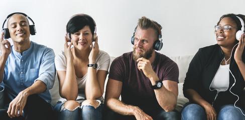 People enjoy music on headphones