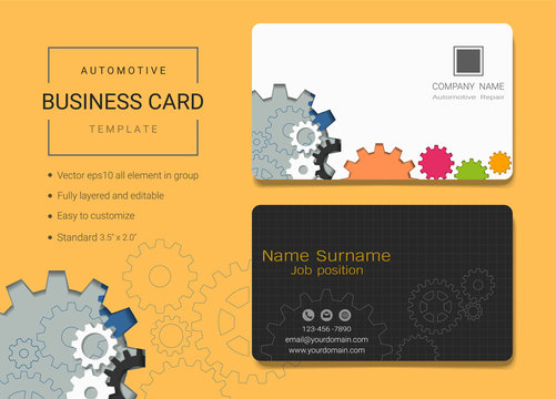 Automotive business card or name card template, Simple style also modern and elegant with abstract gears machine background, It's fully layered and editable, Easy to customize it to fit your needs.