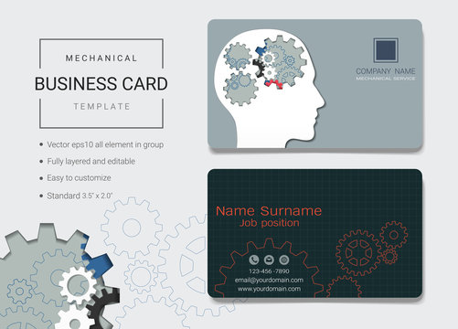 Mechanical business card or name card template, Simple style also modern and elegant with head gears machine background, It's fully layered and editable, Easy to customize it to fit your needs.