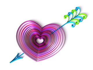 Paper Art Quilling  Filigree Valentine Heart with Cupid's Arrow  - Sweet 3D Render Papercraft Love Flourish for Greeting Card Design Project