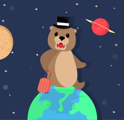 teddy Bear travelling in space