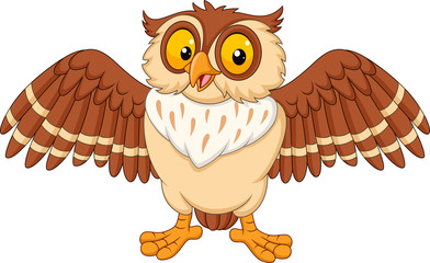 Cartoon happy owl isolated on white background