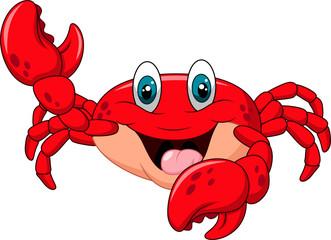 Cartoon happy crab isolated on white background