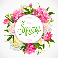 Floral background with blooming pink and light yellow peonies, buds, green leaves. Inscription Spring in a round frame. Template for cards, banners on 8 March, Mothers Day, Birthday, Spring Sale.