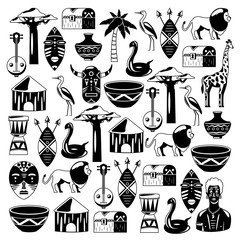 African pattern. Travel to Africa ethnic icons. Tribal illustration. African mask, animals, house, tree, palm, baobab
