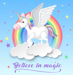 Unicorn with wings on clouds