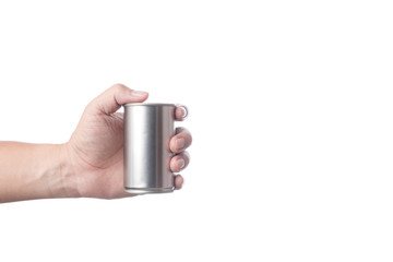 Hand holding tin or steel can made of aluminium for food