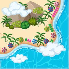 Aerial view of ocean and beach
