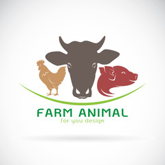 Vector group of animal farm label., Cow, pig, chicken. Logo Animal.