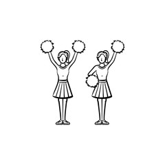 Cheerleader women with pom-pom hand drawn outline doodle icon. Girls cheer leaders vector sketch illustration for print, web, mobile and infographics isolated on white background.