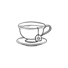 Cup with tea bag hand drawn outline doodle icon. Hot drink - tea cup vector sketch illustration for print, web, mobile and infographics isolated on white background.