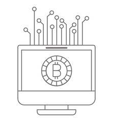 computer display with bitcoin money vector illustration design